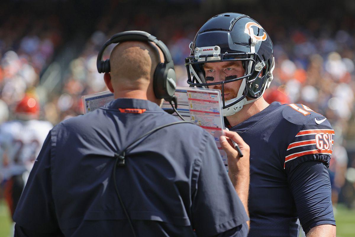 Bears coach Matt Nagy talks to quarterback Andy Dalton in Week 2.