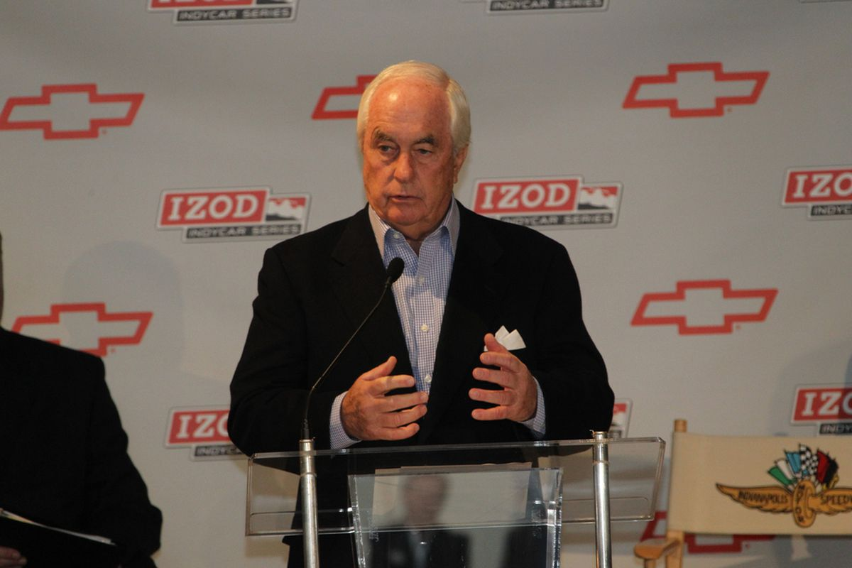Roger Penske addresses the media at the General Motors announcement at the Indianapolis Motor Speedway Museum on November 12, 2010 (Photo: IMS/Ron McQueeney