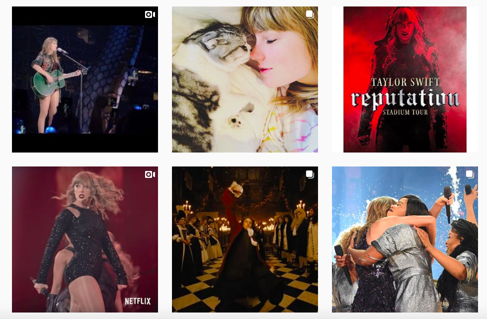 A collection of thumbails from Swift's Instagram shows her changing color story