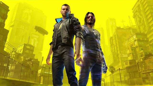 Cyberpunk 2077 - Male V and Johnny Silverhand stand side by side in Night City. The background is washed out and colored yellow so the two main characters pop.