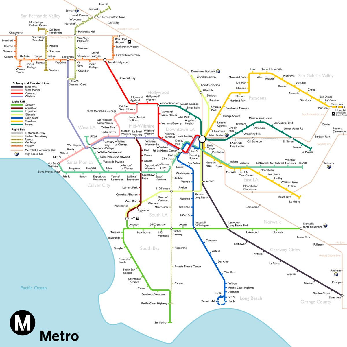 Los Angeles Subway Map 2016.The Most Optimistic Possible La Metro Rail Map Of 2040 Curbed La