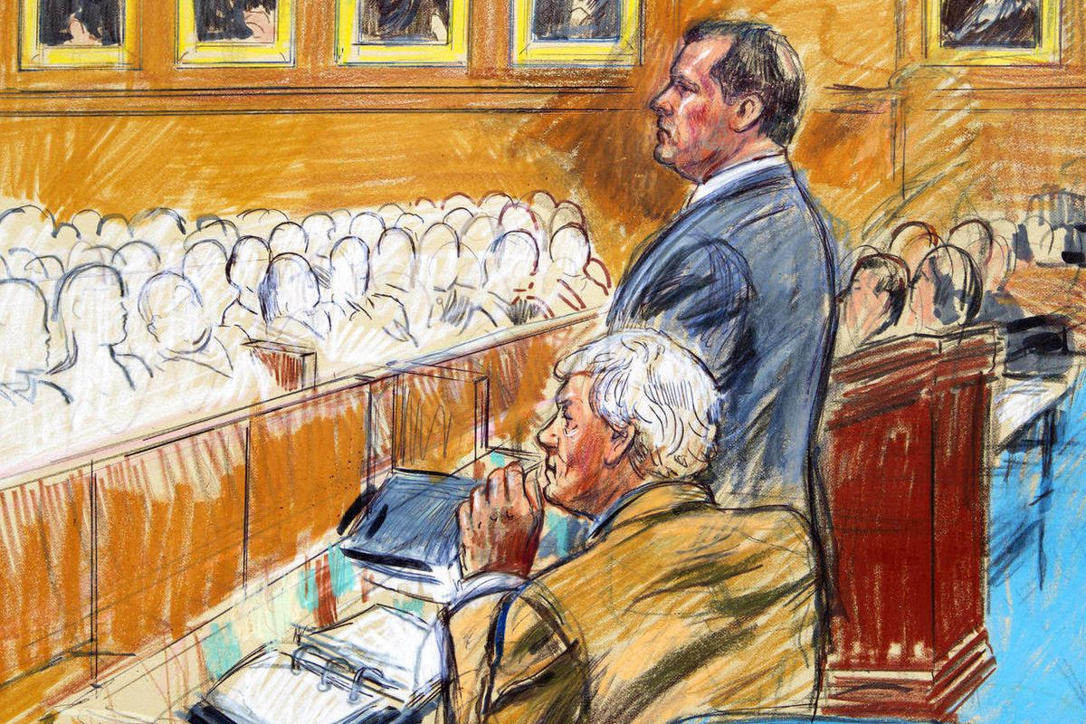 This artist rendering shows former Major League Baseball pitcher Roger Clemens, standing, and his attorney Rusty Hardin, front left, facing prospective jurors inside federal court in Washington, Monday, Aril 16, 2012, during jury selection in the perjury