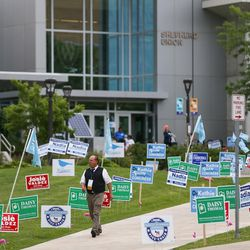 Signs for the Utah Democratic Party State Organizing Convention at Weber State University in Ogden on Saturday, June 17, 2017.