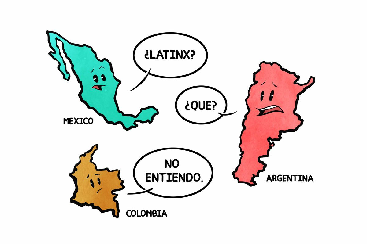 "Cartoon of the outline of Mexico saying ""Latinx?"" and Argentina saying ""Que?"" and Colombia saying ""No entiendo."""