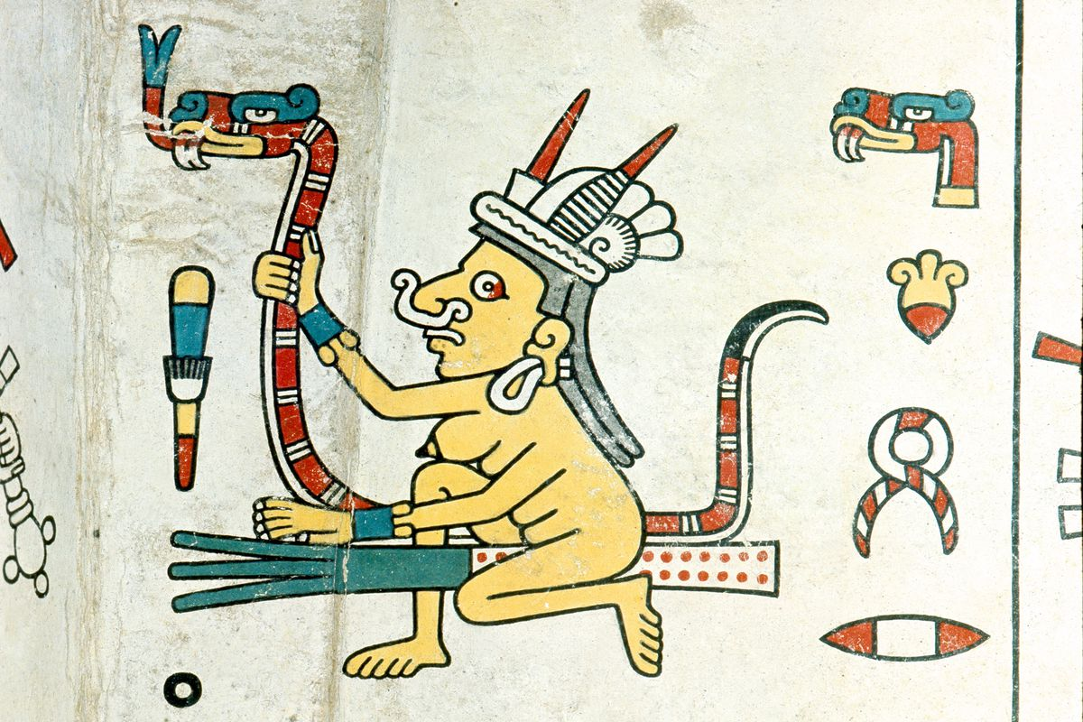 A panel from the Codex Fejervary Mayer shows Tlazolteotl, the goddess of witchcraft