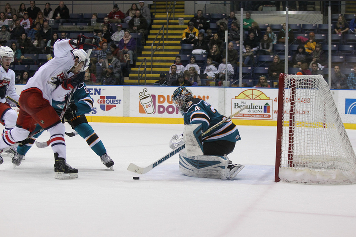 Worcester Sharks goaltender J.P. Anderson makes one of his 40 saves Saturday night at the MassMutual Center against the Springfield Falcons (Chris Mario/Flickr.com)