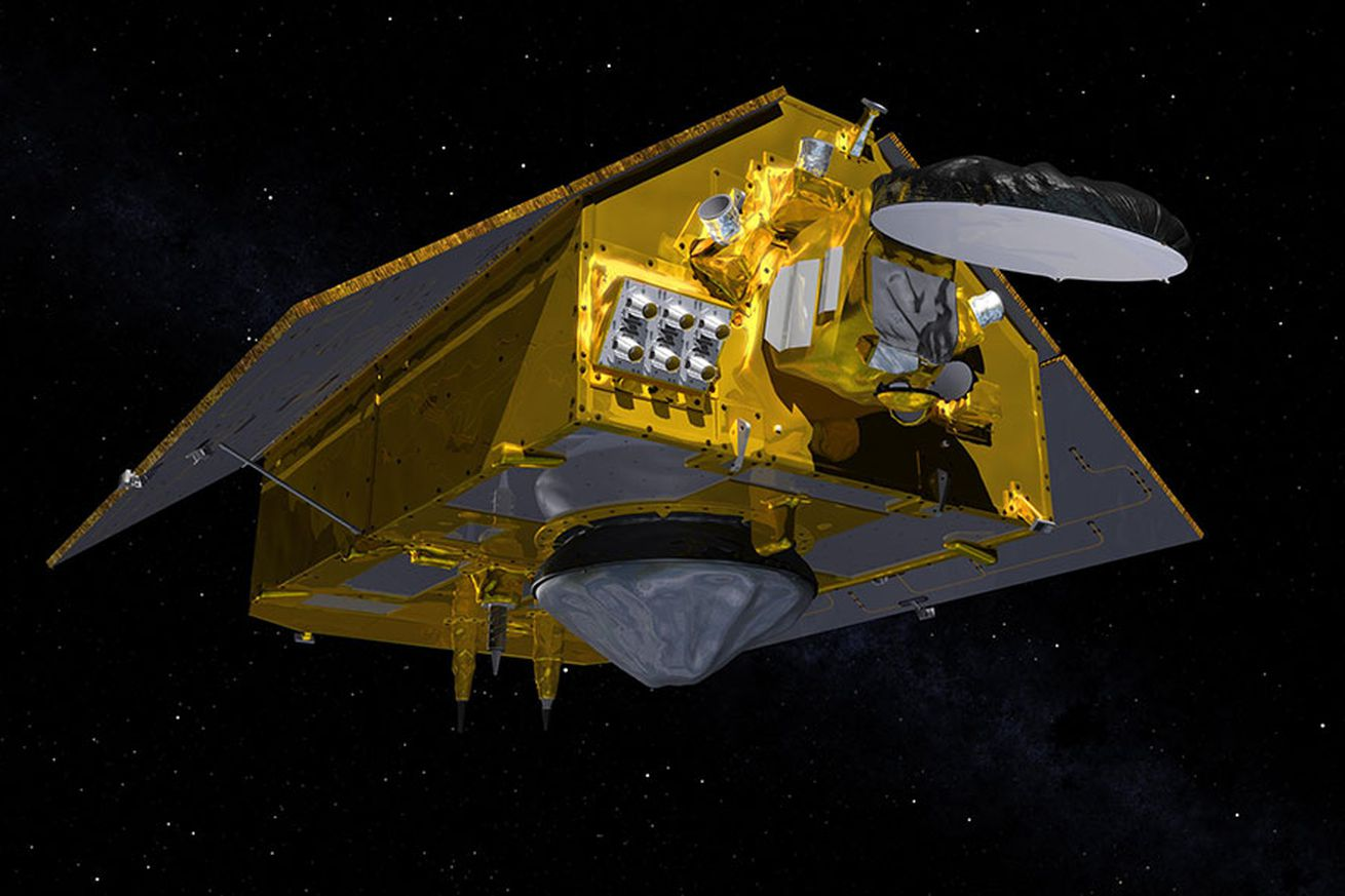 This illustration shows the rear of the Sentinel-6 Michael Freilich spacecraft in orbit above Earth with its deployable solar panels extended. As the world's latest ocean-monitoring satellite, it is launching on Nov. 21, 2020, to collect the most accurate data yet on global sea level and how our oceans are rising in response to climate change.