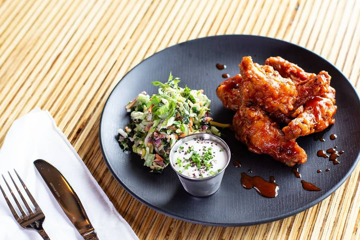 The chicken wings from Revelry on the Boulevard