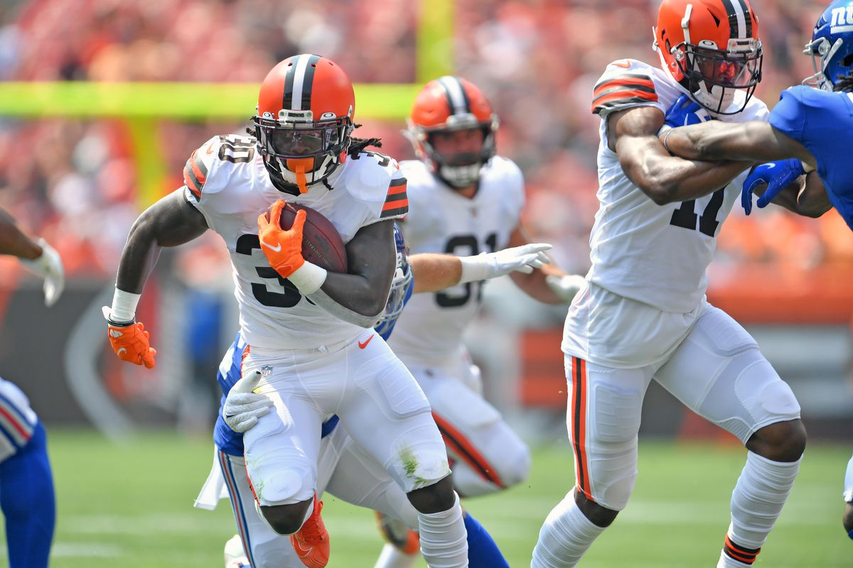Running back D'Ernest Johnson #30 of the Cleveland Browns runs a play during the first quarter against the New York Giants at FirstEnergy Stadium on August 22, 2021 in Cleveland, Ohio.