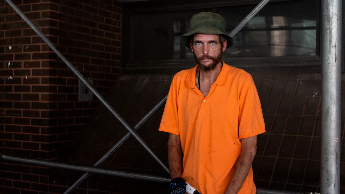 Richard Parry, 51, who has been staying on the streets in Midtown, says he has a hard time finding a place to go to the bathroom, especially at night when the bathrooms at Penn Station are locked up, Aug. 4, 2020.