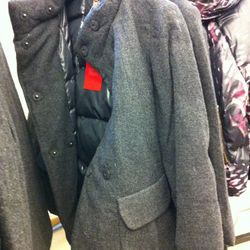 Check out the puffy jacket lining on this wool coat.