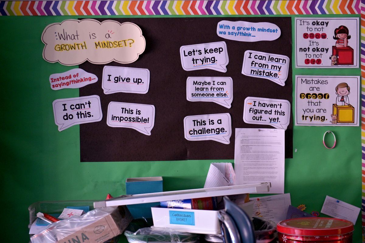 """A poster board with cutout posters bearing educational questions like, """"What is a growth mindset?"""""""