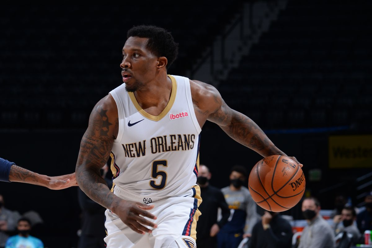 Eric Bledsoe #5 of the New Orleans Pelicans handles the ball against the Denver Nuggets on MARCH 21, 2021 at the Ball Arena in Denver, Colorado.