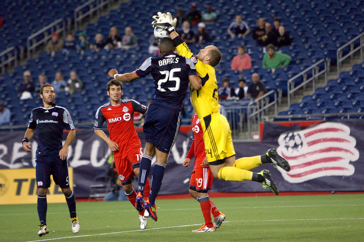 FOXBORO, MA - JUNE 15:  Stefan Frei #24 of Toronto FC makes a save against the New England Revolution at Gillette Stadium on June 15, 2011 in Foxboro, Massachusetts. (Photo by Gail Oskin/Getty Images)
