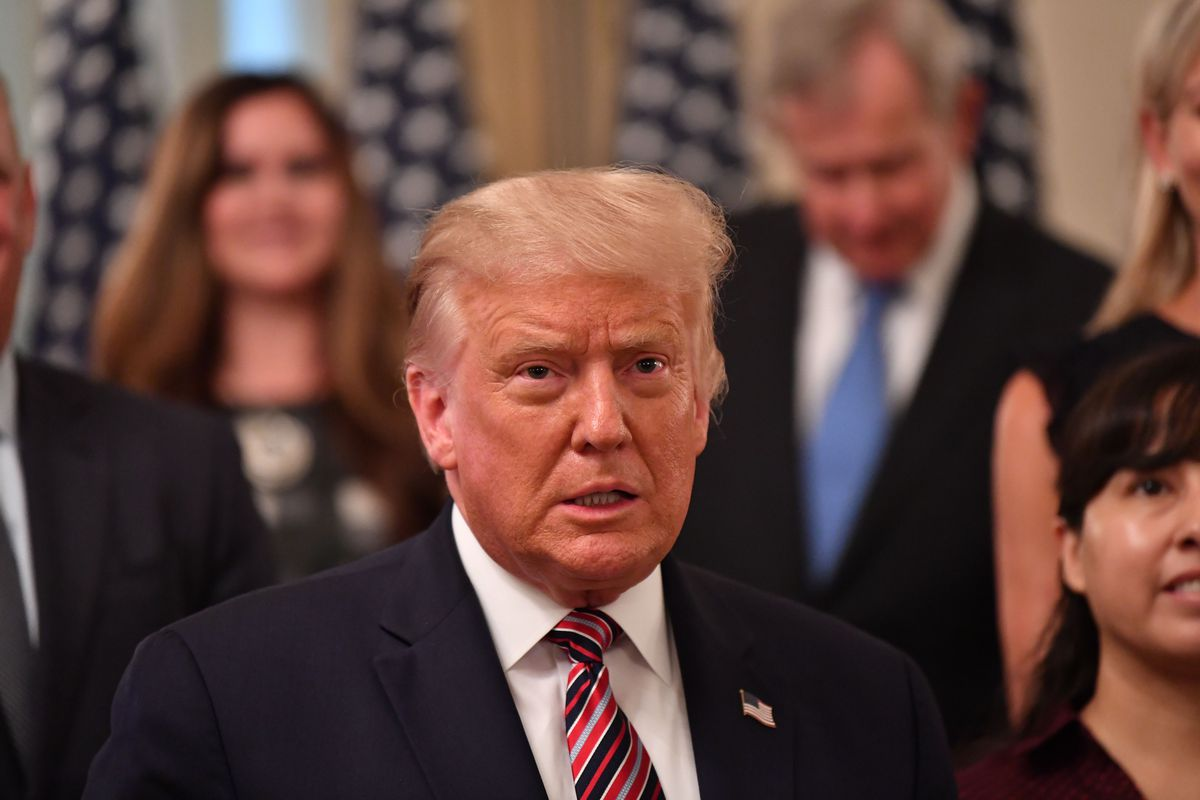 """President Donald Trump speaks during the """"Getting America's Children Safely Back to School"""" event in the State Room of the White House in Washington, DC, on August 12, 2020."""
