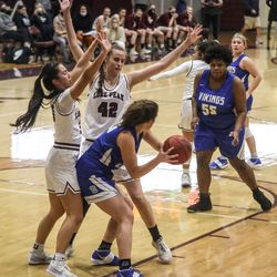 Pleasant Grove and Lone Peak compete in a girls basketball game in Highland on Friday Jan. 22, 2021.