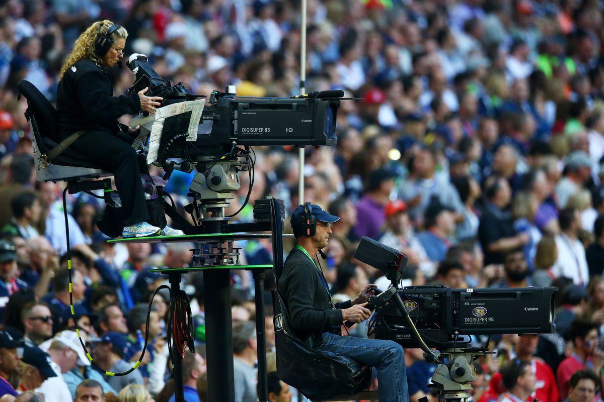 Television cameras roam the sidelines prior to Super Bowl XLIX at University of Phoenix Stadium on February 1, 2015 in Glendale, Arizona.
