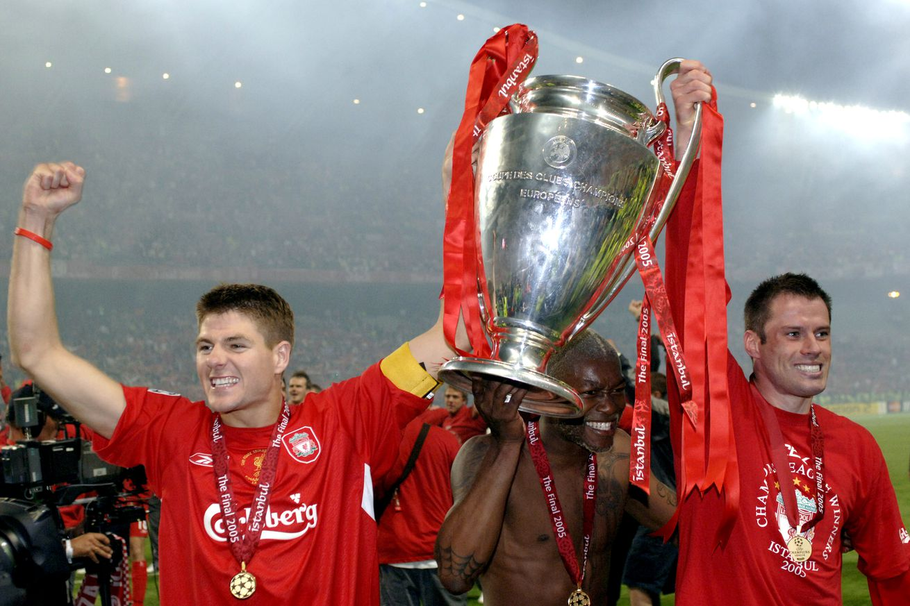BT Sport, Football, UEFA Champions League Final, 25th May 2005, Ataturk Stadium, Istanbul, AC Milan 3 v Liverpool 3, ( Liverpool won 3-2 on penalties), Liverpool captain Steven Gerrard and Jamie Carragher celebrate with the trophy