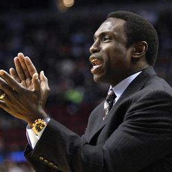 New Jersey Nets head coach Avery Johnson shouts to his team in the first quarter of an NBA basketball game against the Portland Trail Blazers, Wednesday, April 4, 2012, in Portland, Ore.