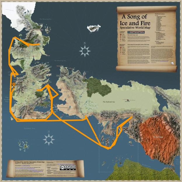 Map from 'Game of Thrones' showing path of Yara Greyjoy