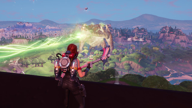 Fortnite's giant monster shoots a green laser out of its eye