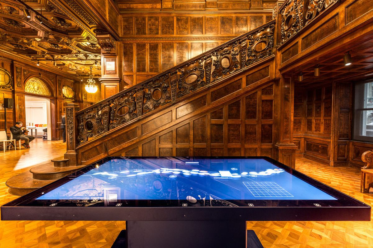 """The new Cooper Hewitt is a marriage of old and new; grand staircases and interactive display tables. (All photos by <a href=""""http://touheyphotography.com/"""">Max Touhey</a>.)"""
