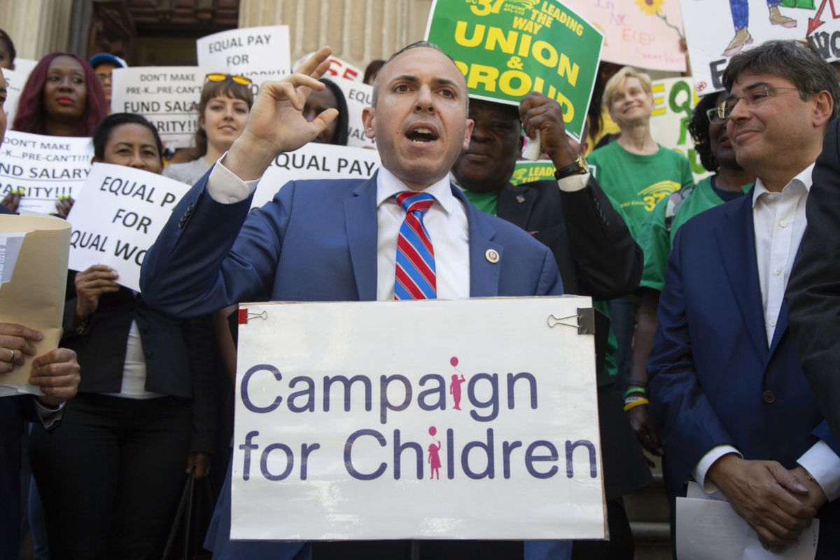 City Councilman Mark Treyger speaks at a rally for pay parity among early child education providers.