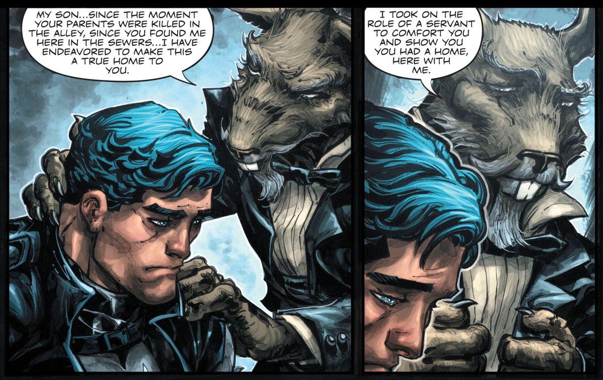 Bruce Wayne/Batman and Splinter in Batman/TMNT III #1, DC Comics, IDW Publishing (2019).
