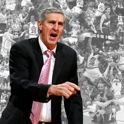 Photo illustration was prepared for Jerry Sloan's thousandth win.