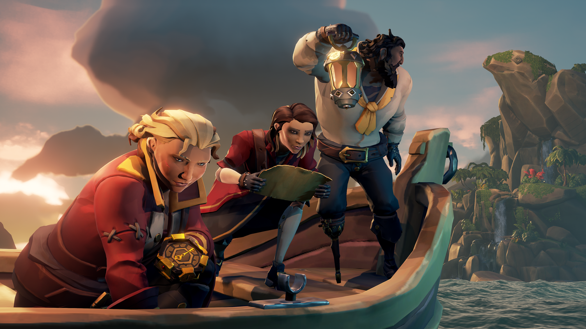 "Three characters in a small boat in the video game ""Sea of Thieves"""