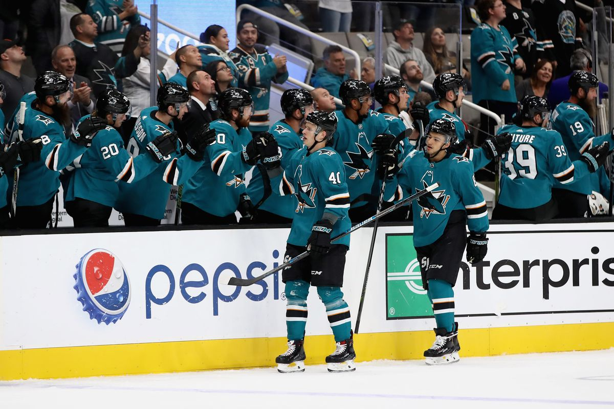 SAN JOSE, CA - SEPTEMBER 27: Antti Suomela #40 of the San Jose Sharks is congratulated by teammates after he scored a goal in their preseason game against the Calgary Flames at SAP Center on September 27, 2018 in San Jose, California.