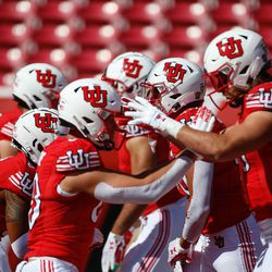 Utah football team warms-up before they compete against Washington State before an NCAA college football game at Rice-Eccles Stadium on Saturday, Sept. 25, 2021 in Salt Lake City.