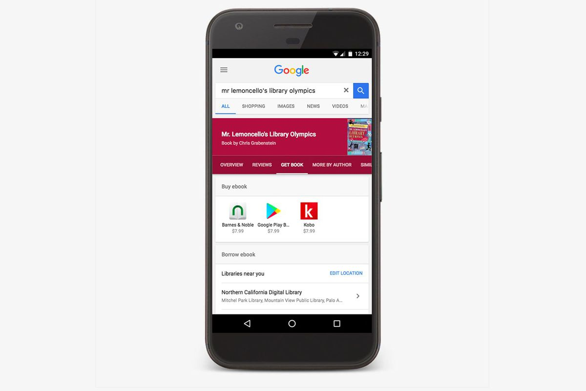 Google will now show you what ebooks are available in your