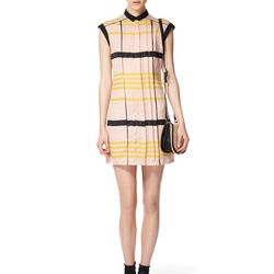 Look 2: Pleated Shift Dress in Blush Stripes, $39.99 (Black Belt Included) Woven Mini Saddle Bag in Cream, $24.99 (Available at Target.com only)