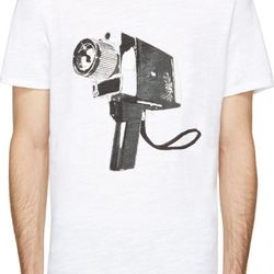 """<b>Rag & Bone t-shirt</b><br> Switch out his (lame) startup t-shirt for this significantly cooler <b>Rag & Bone</b> printed alternative at the new Rag & Bone store on Fillmore or on <a href=""""https://www.ssense.com/men/product/rag_and_bone/white-super-8-c"""