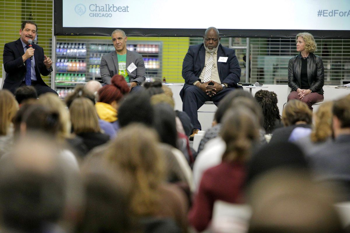 """Panelists at a Chalkbeat Chicago forum on the city's next mayor and public schools included, from left, Jesus """"Chuy"""" Garcia, Daniel Anello, Jitu Brown, and Beth Swanson"""