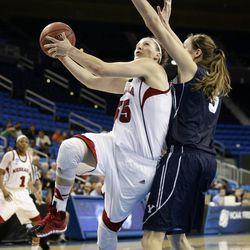 Nebraska's Jordan Hooper (35) goes up for a basket against BYU's Jennifer Hamson (5) during the second half of a second-round game in the NCAA women's college basketball tournament on Monday, March 24, 2014, in Los Angeles. BYU won 80-76. (AP Photo/Jae C. Hong)