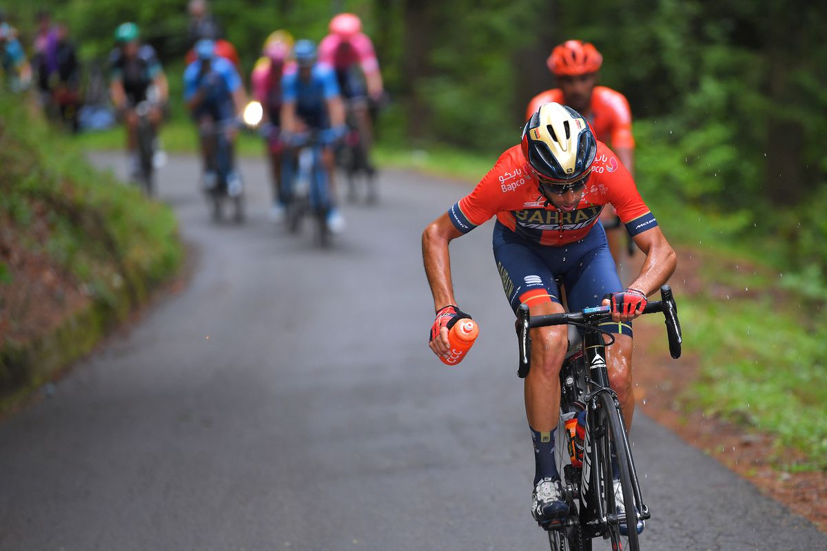LOVERE, ITALY - MAY 28: Vincenzo Nibali of Italy and Team Bahrain - Merida / Refreshment / Passo del Mortirolo (1854m)/ Rain / during the 102nd Giro d'Italia 2019, Stage 16 a 194km stage from Lovere to Ponte di Legno 1254m / Tour of Italy / #Giro / @girod