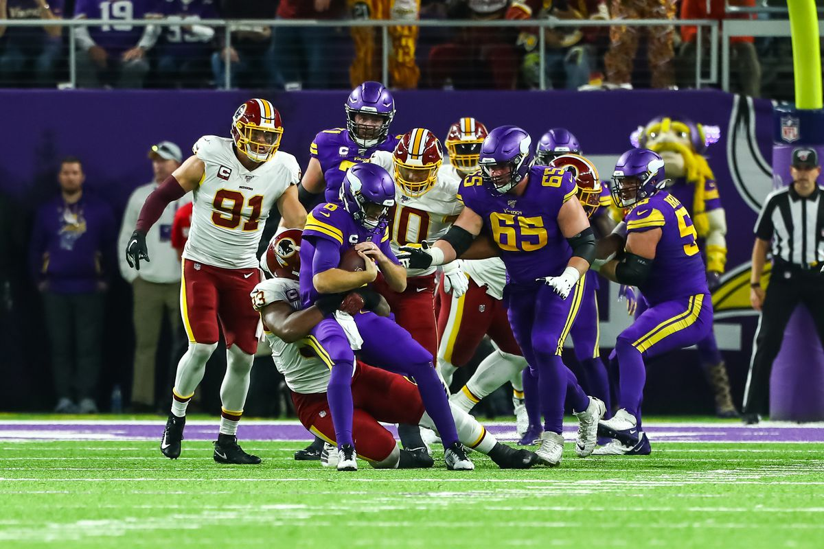 Washington defensive end Jonathan Allen sacks Minnesota Vikings quarterback Kirk Cousins in the second quarter at U.S. Bank Stadium.
