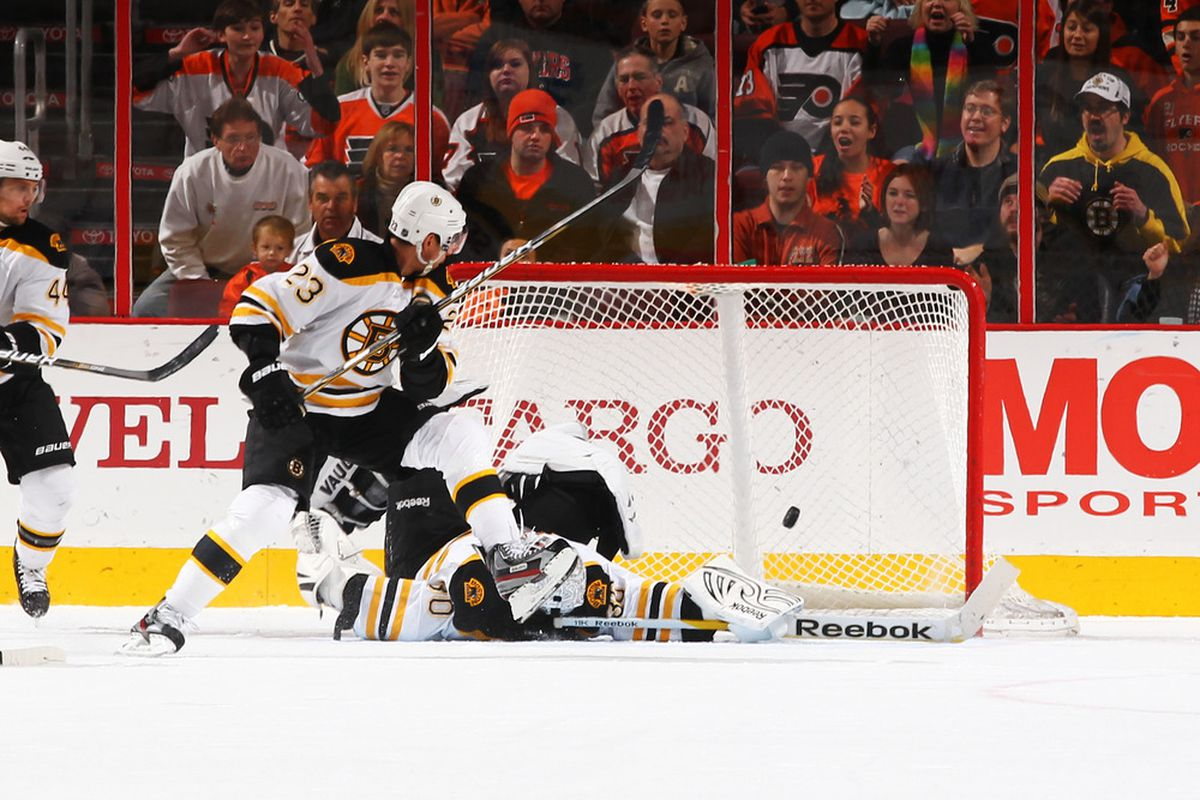 """Actual Getty Images caption: """"Tim Thomas #30 of the Boston Bruins makes a save against the Philadelphia Flyers ..."""""""