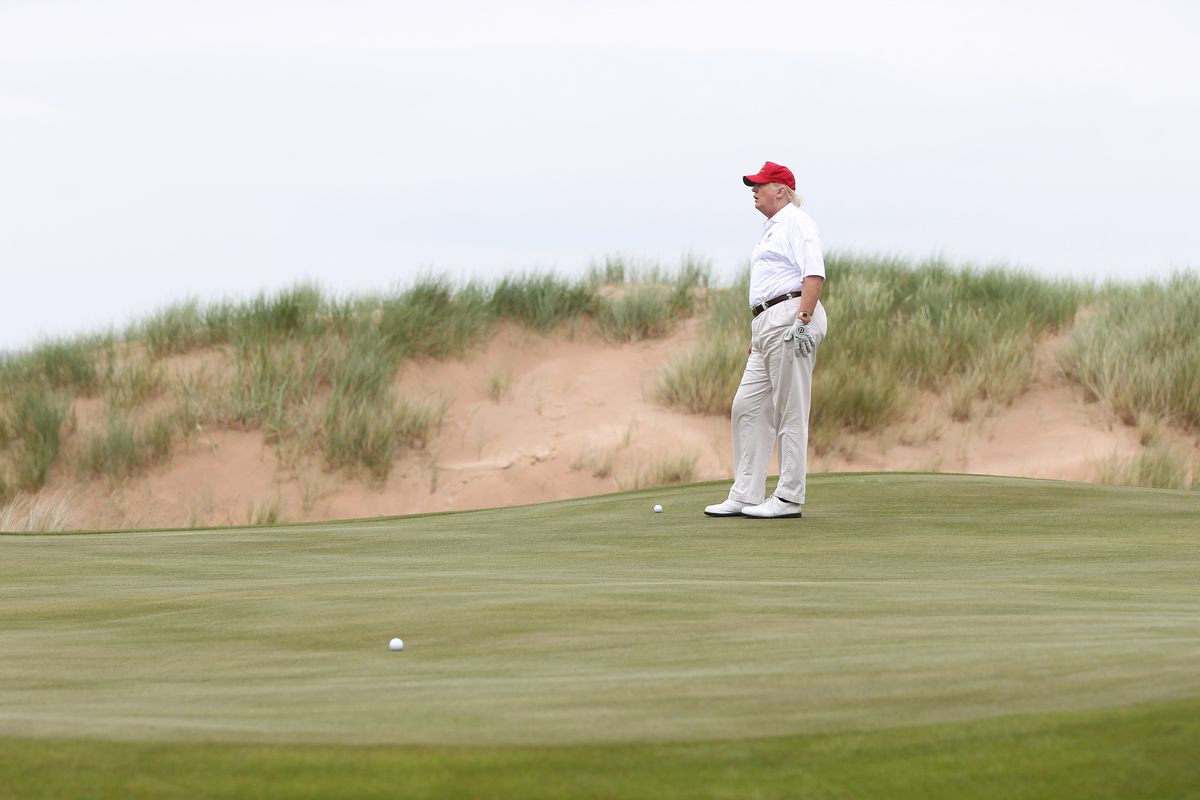 President Trump hitting Hillary Clinton with a golf ball in a GIF