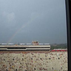 2008-View showing a rainbow behind the FSU Doak Campbell football stadium in Tallahassee, Florida.