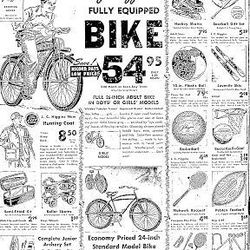 Sixty years ago, this Sears ad appeared, selling athletic equipment to young people.