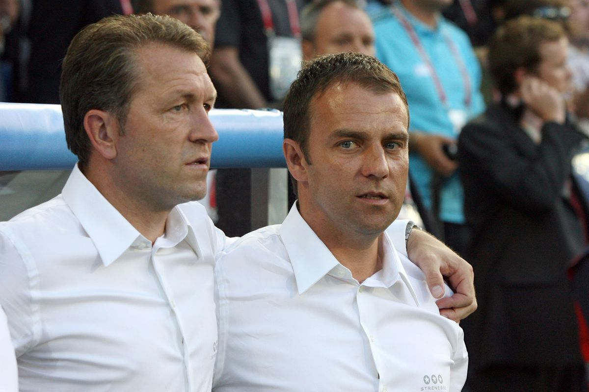 Switzerland - Basel: UEFA EURO 2008 - Quarter-Final, Portugal v Germany 2:3 - assistant coach Hans-Dieter Flick (R) of Germany and goalkeeper coach Andreas Koepke