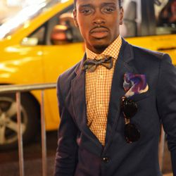 Cordell on Broadway and Broome is wearing vintage, Zara, and a pocket square of his own design.