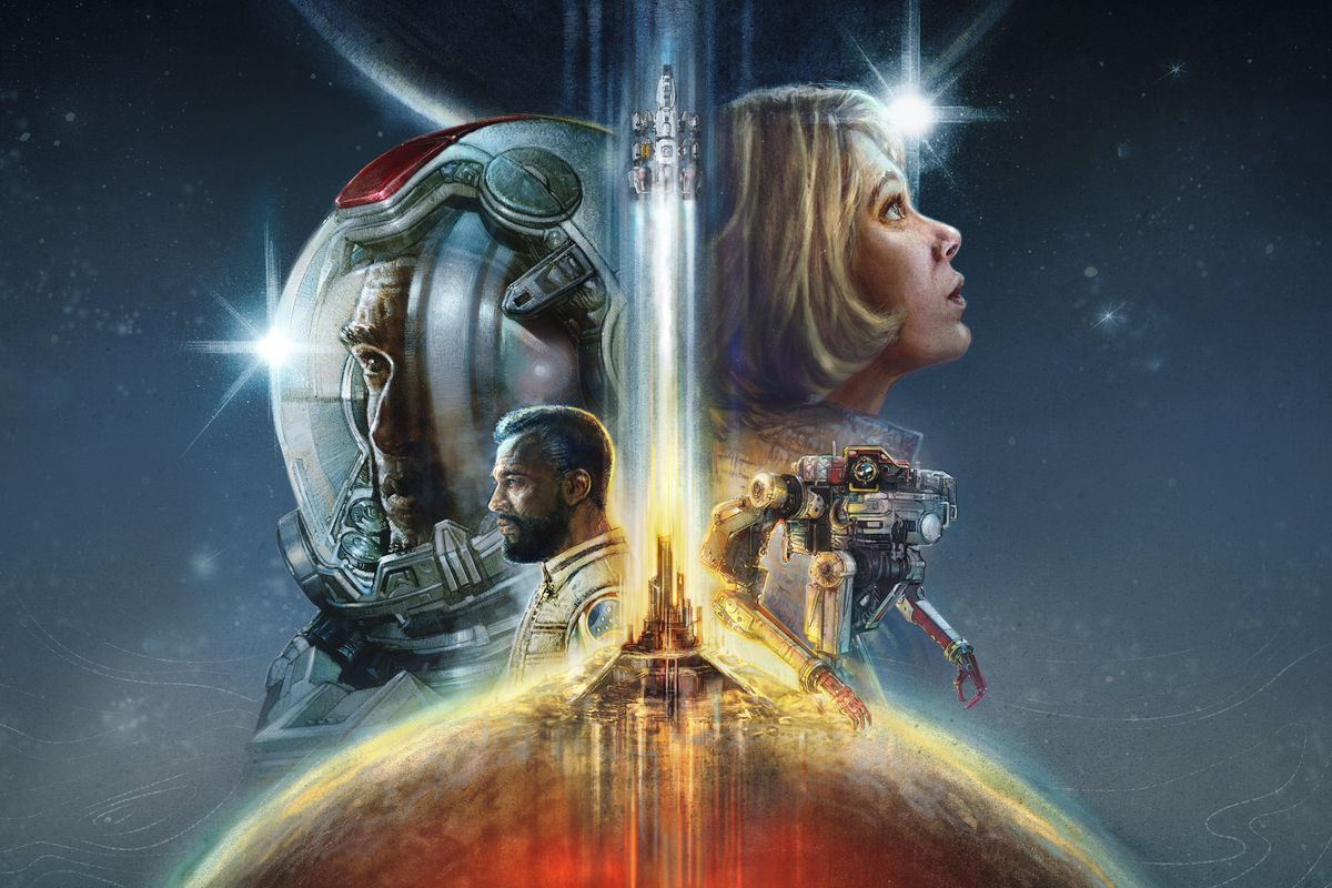artwork from Starfield of male and female astronauts and a mech, all surrounding a spacecraft lifting off from a red planet