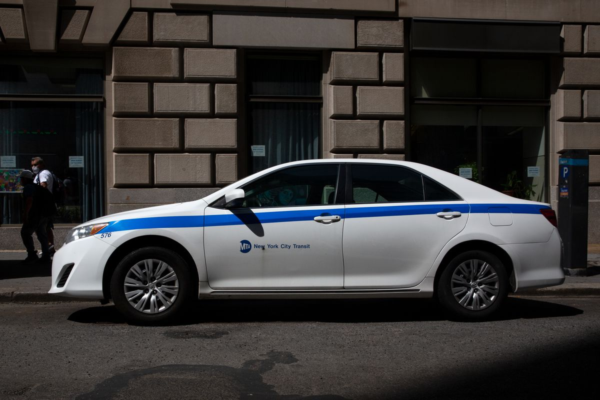 An MTA vehicle was parked outside the agency's lower Manhattan headquarters, July 20, 2020.