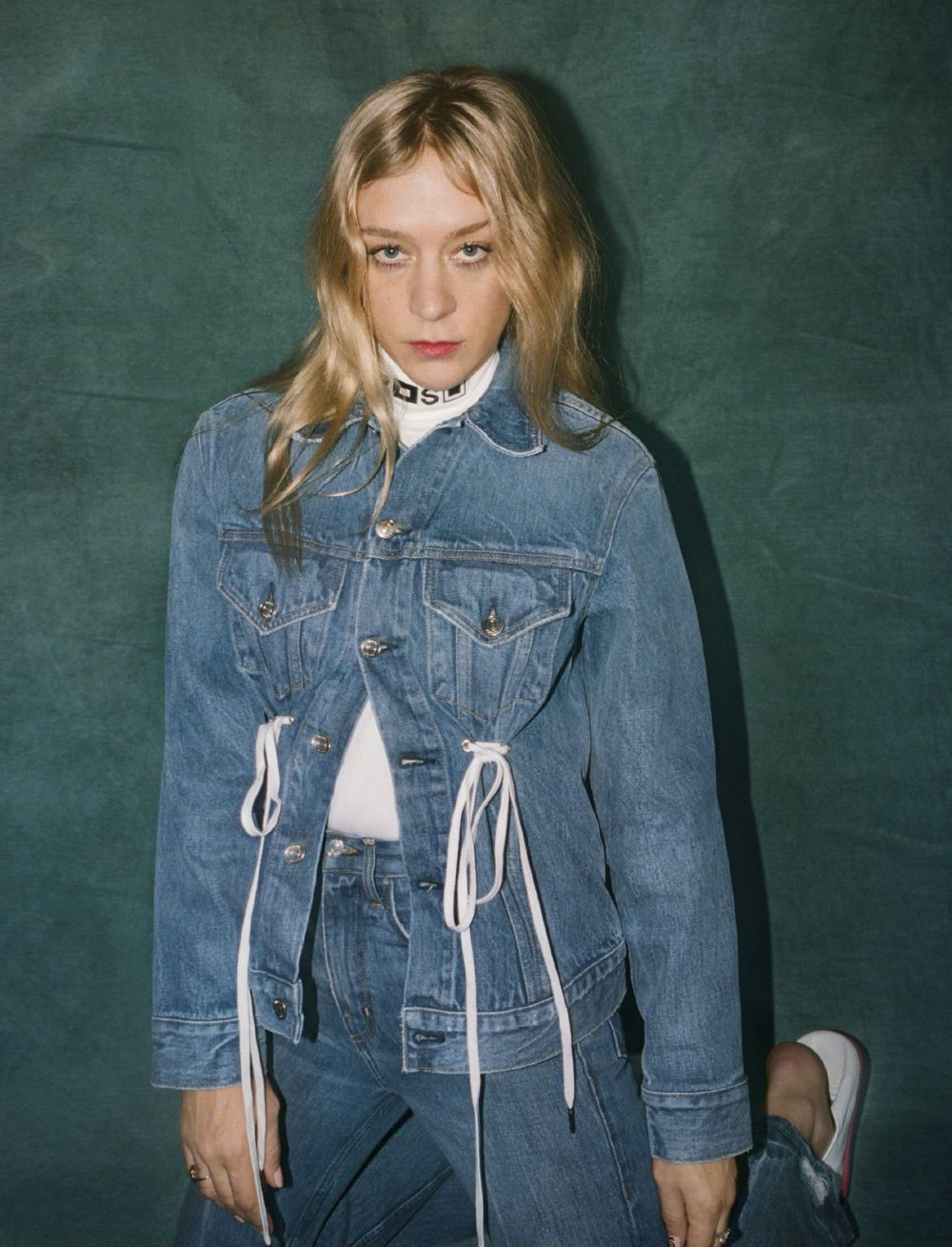 Chloe Sevigny in a denim jacket and jeans for PSWL.