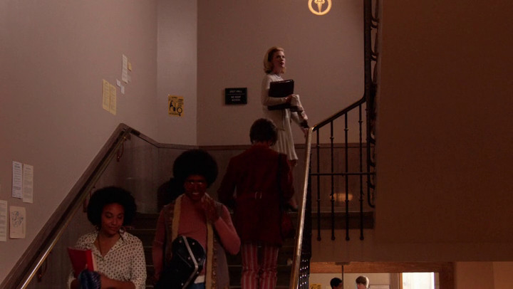 Betty makes a difficult climb on Mad Men.