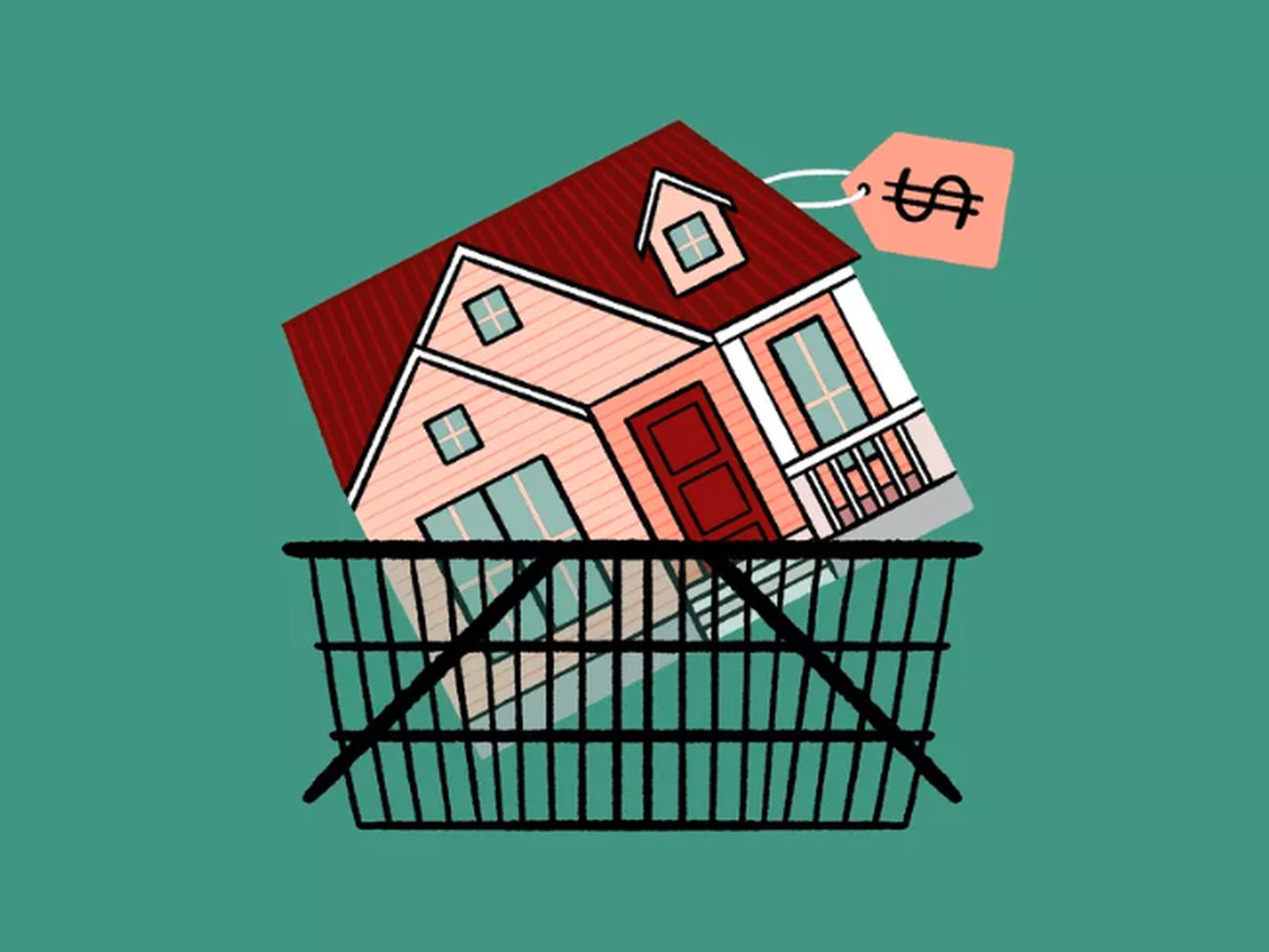 A drawing of a house in a shopping cart.